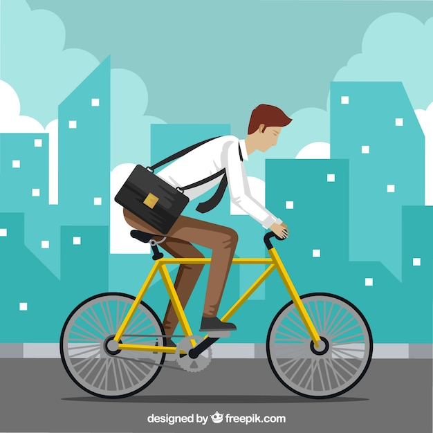 Modern businessman riding bike