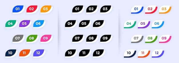 モダンなボタンスタイルの箇条書きは1から12までの番号を指します 無料ベクター