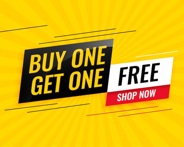 Modern buy one get one free sale yellow banner design Free Vector