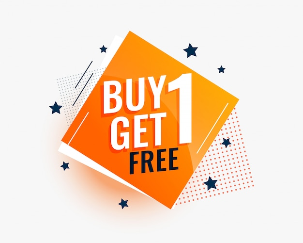 Modern buy one get one sale banner in creative style Free Vector