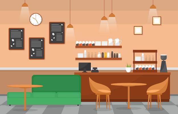 Modern cafe coffee shop interior furniture restaurant Premium Vector