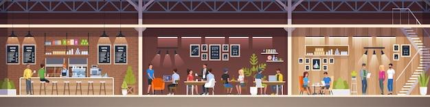 モダンなカフェ。インテリアレストラン。クリエイティブオフィスコワーキングセント Premiumベクター