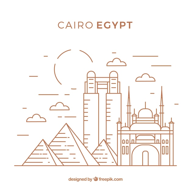 Modern cairo skyline with lineal style Premium Vector