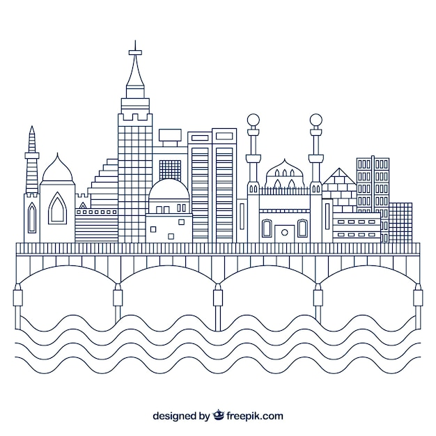 Modern cairo skyline with lineal style Free Vector