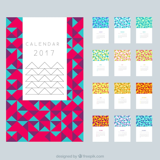Calendar Design Freepik : Modern calendar in polygonal design vector free