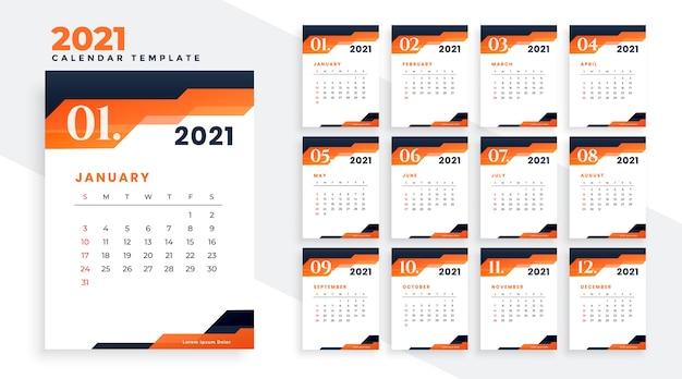 Calendario 2021 Arancione Design moderno del calendario dell'anno 2021 in tema arancione
