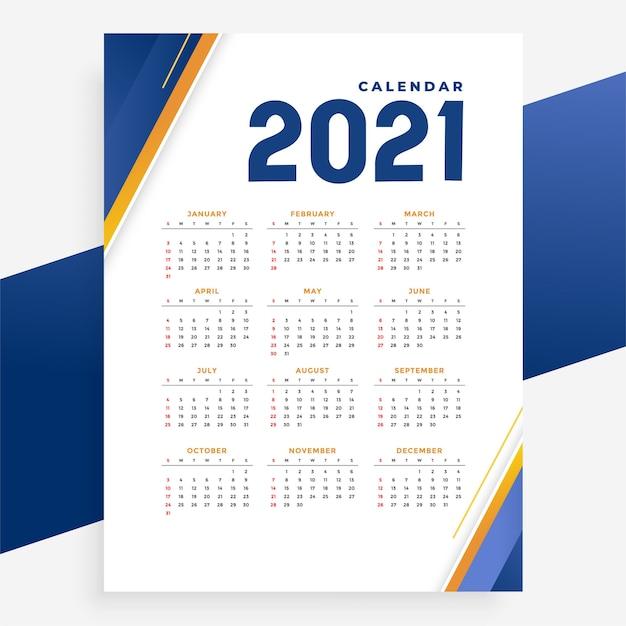 Modern  calendar template  for new year Free Vector