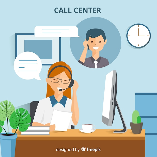 Modern call center background in flat style Free Vector
