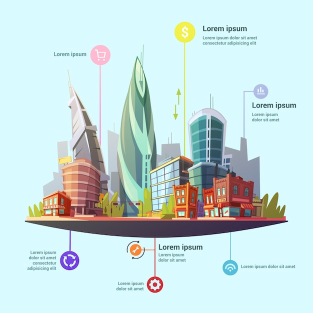 Modern capital city infographic Free Vector