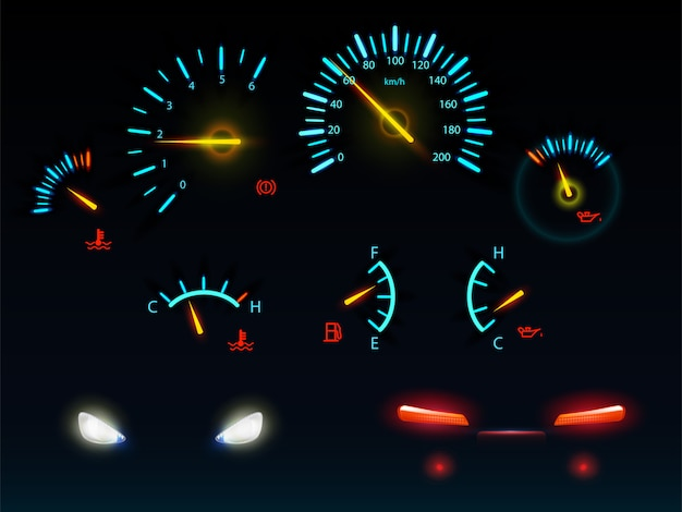 Modern car dashboard indicators glowing in darkness blue and orange light scales and arrows, automobile front and back headlights realistic vector illustrations set Free Vector
