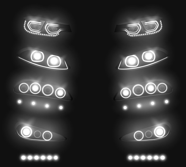 Modern car front, back headlights realistic vector set. switched and glowing white in darkness, vehicle led, xenon or laser running lights illustration isolated on black. auto industry equipment Free Vector