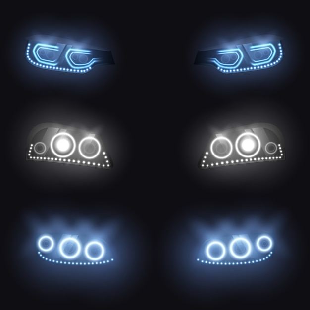 Modern car front or back headlights with xenon Free Vector