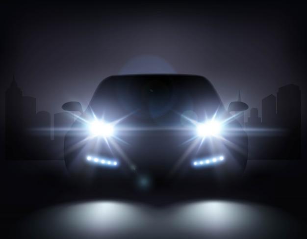 Modern car lights composition Free Vector