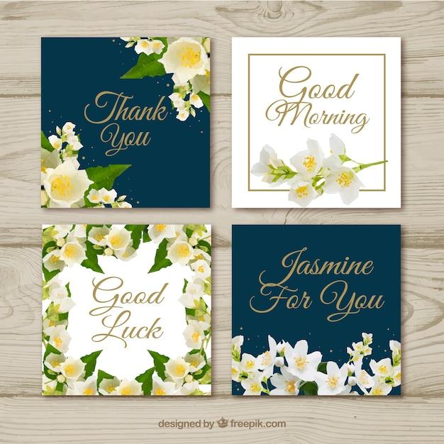 Modern cards with jasmine flowers