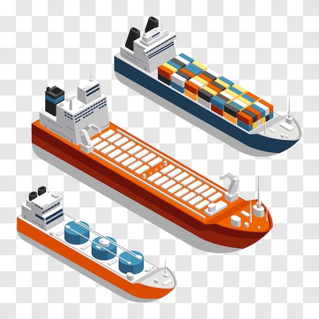 Современные грузовые корабли изометрической конструкции. набор транспортных судов, изолированные на прозрачном фоне. Premium векторы