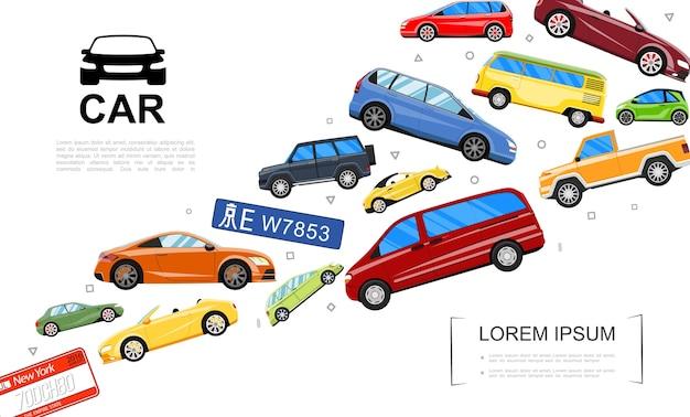 Шаблон современные автомобили Бесплатные векторы