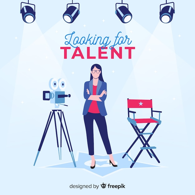 Modern casting composition with flat design Free Vector