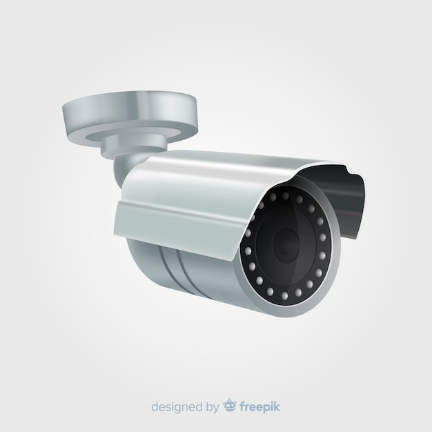 Modern cctv camera with realistic design Free Vector