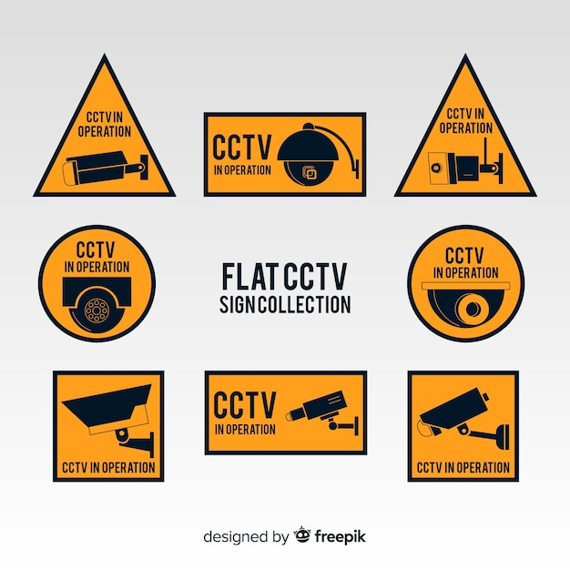 Modern cctv sign collection with flat design Free Vector