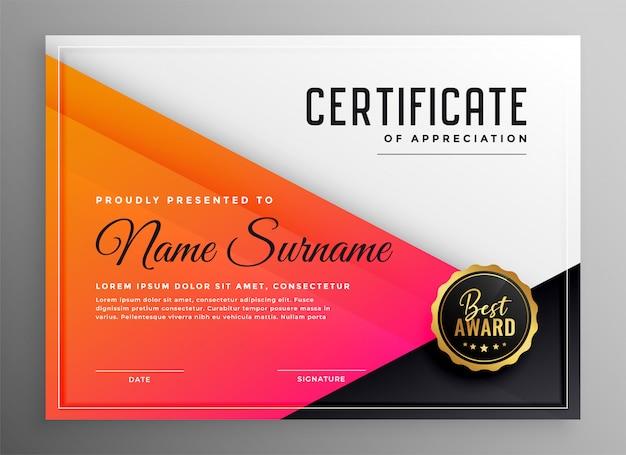 Modern certificate of appreciation template Free Vector
