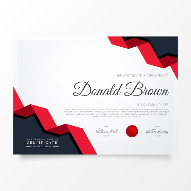 Modern certificate of appreciation with origami shapes Free Vector