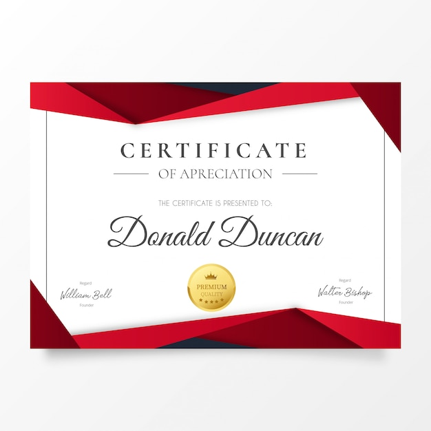 Modern certificate of appreciation with red papercut shapes Free Vector