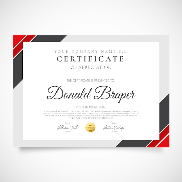 Modern certificate of appreciation Free Vector
