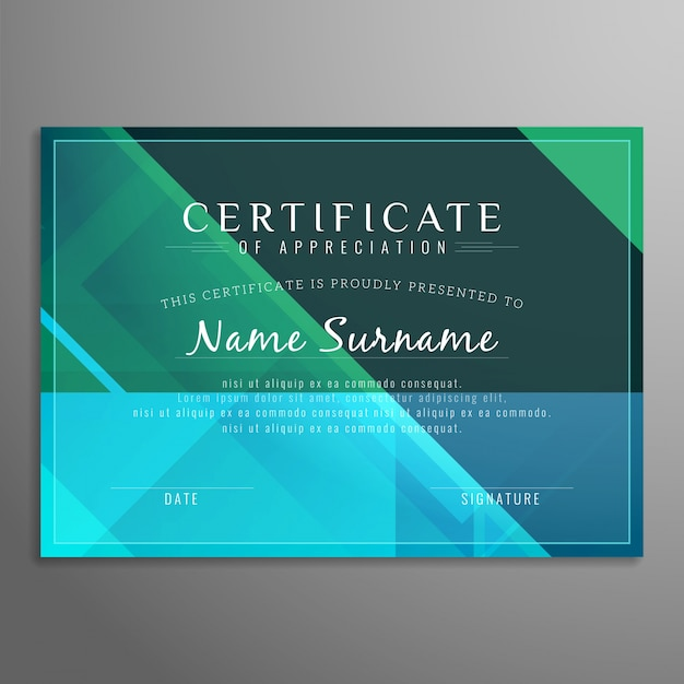 modern certificate design in green and blue tones vector free download