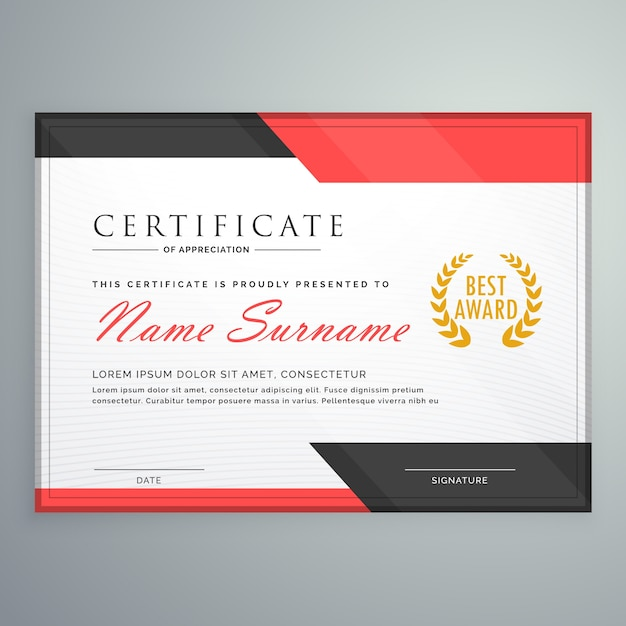 modern certificate design with geometric red and black shapes 1017 8846 Top Result 60 New Life Saving Award Certificate Template