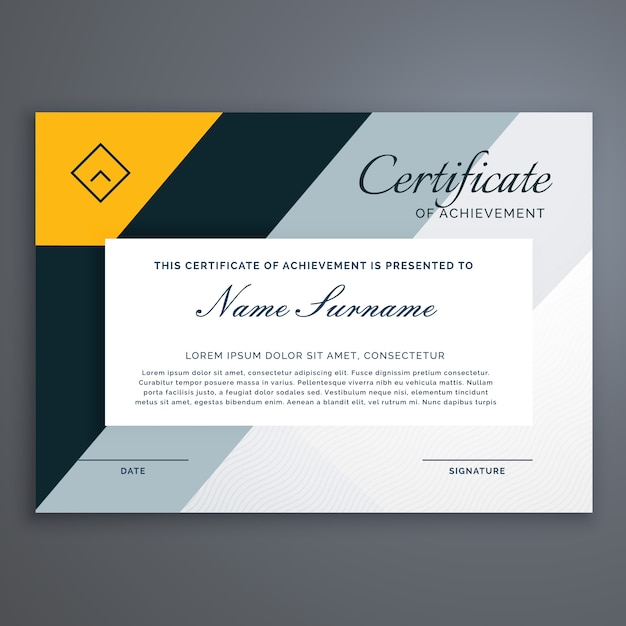 Modern certificate design in yellow geometric shapes ...