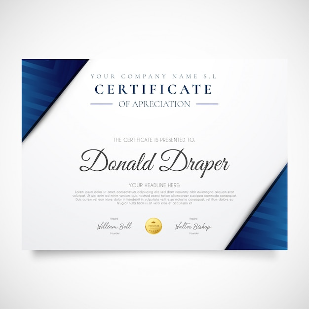 Modern certificate flyer with blue shapes Free Vector