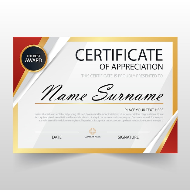Modern certificate of appreciation template vector free for Certificate of appreciation template psd free download