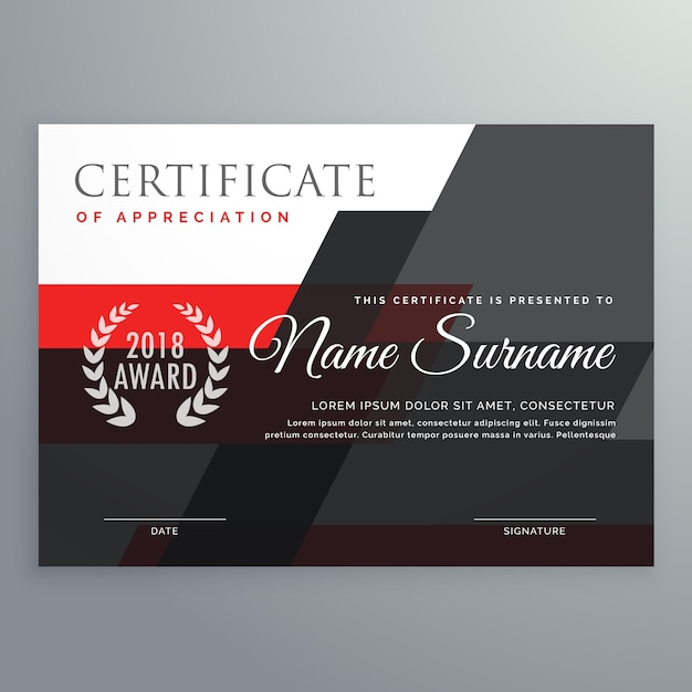 Modern Certificate Template Design With Red And Black Geometric