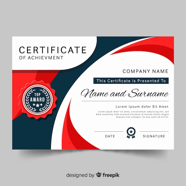 Modern certificate template in flat style Free Vector