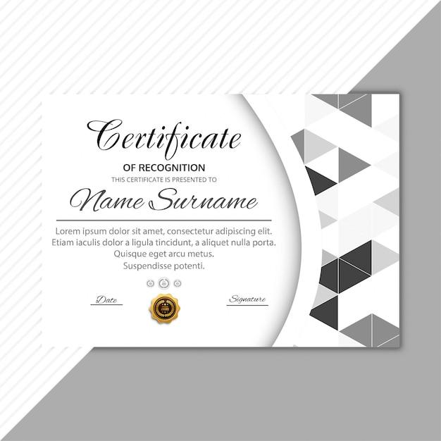 Modern Certificate Template Geometric Background Vector Premium