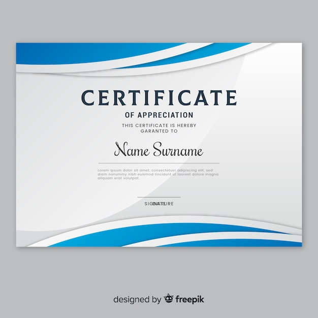 Modern Certificate Template In Flat Design Vector Free Download