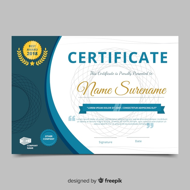 Modern Certificate Template In Flat Style Vector Free Download