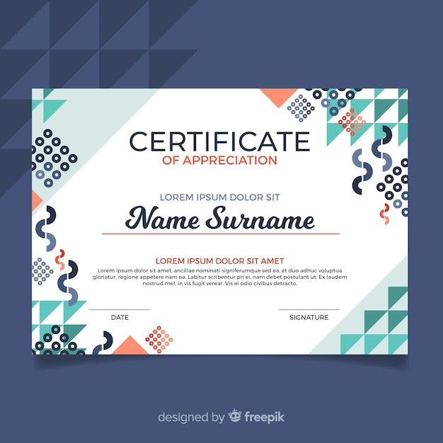 Modern certificate template with abstract design Free Vector
