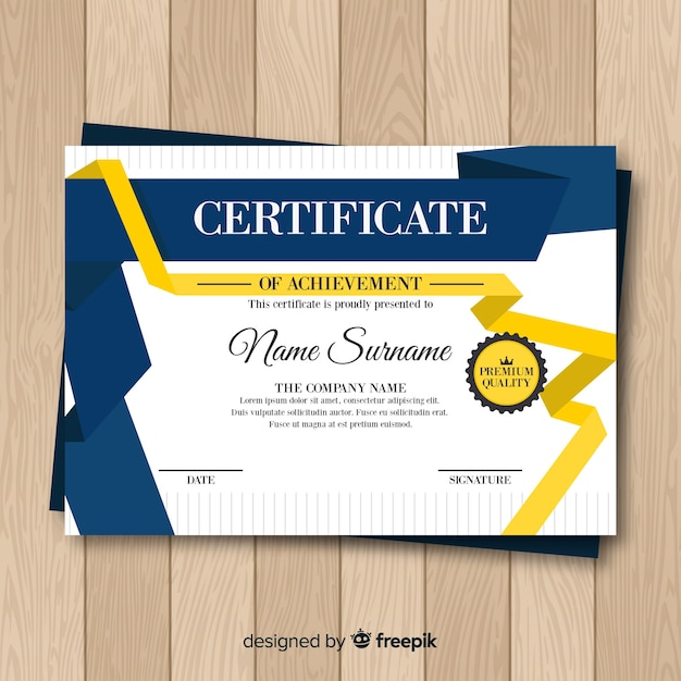 Modern Certificate Template With Flat Design Vector Free Download