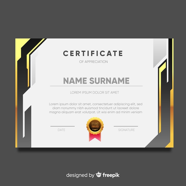 Modern certificate template with flat design Vector | Free