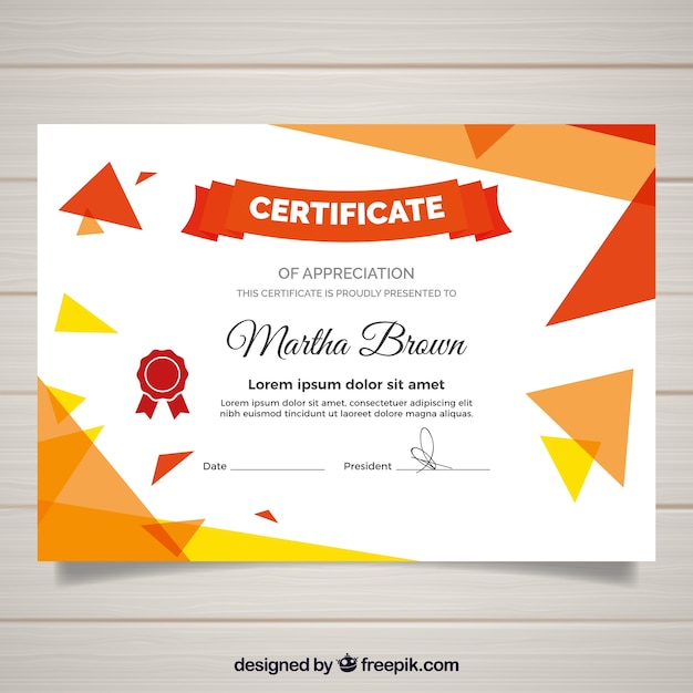 Modern certificate template with flat design Free Vector