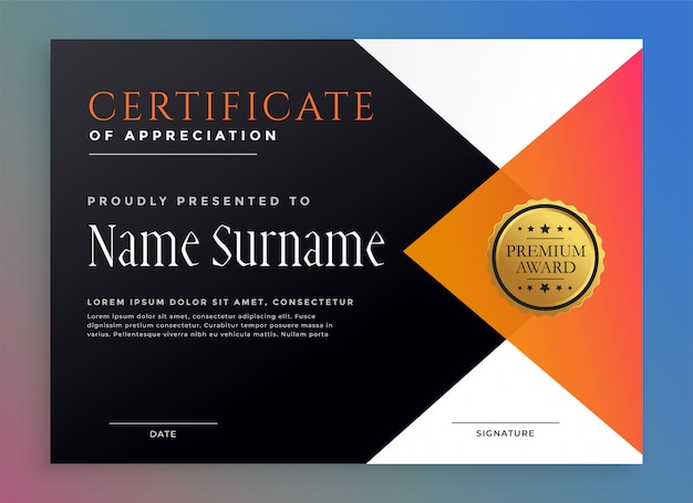 Modern certificate template with golden badge Free Vector