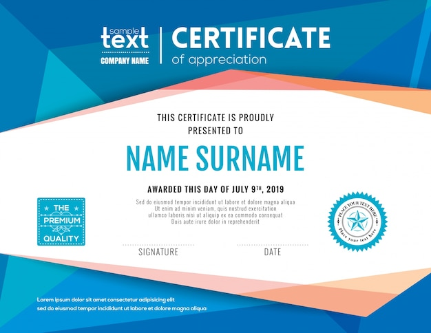 Certificate design vectors photos and psd files free download modern certificate with blue polygonal background design template yelopaper Gallery