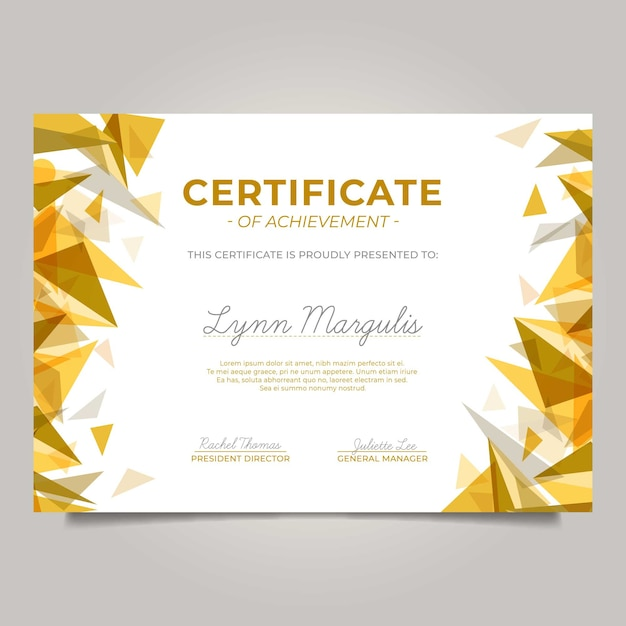 Modern certificate with golden triangles Free Vector