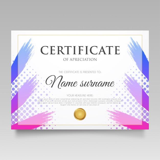Modern certificate with gradient splash Free Vector