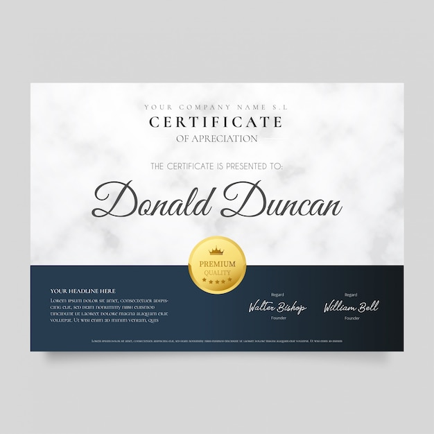 Modern certificate with marble texture Free Vector