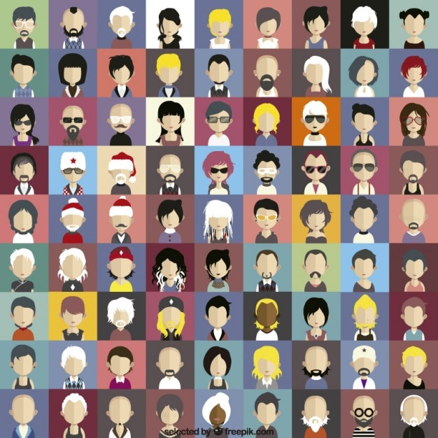 Modern characters icons Free Vector