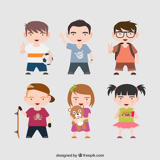 Modern children pack Free Vector
