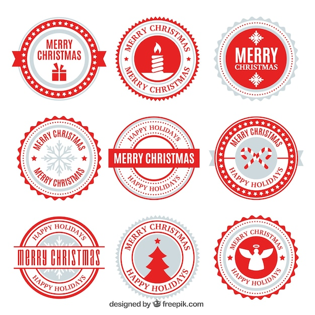 Modern christmas badge collection Free Vector