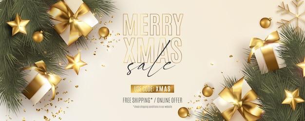 リアルなクリスマスの装飾が施されたモダンなクリスマスバナー 無料ベクター